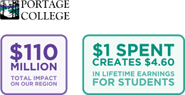 Portage College Economic Impact Info Graphic