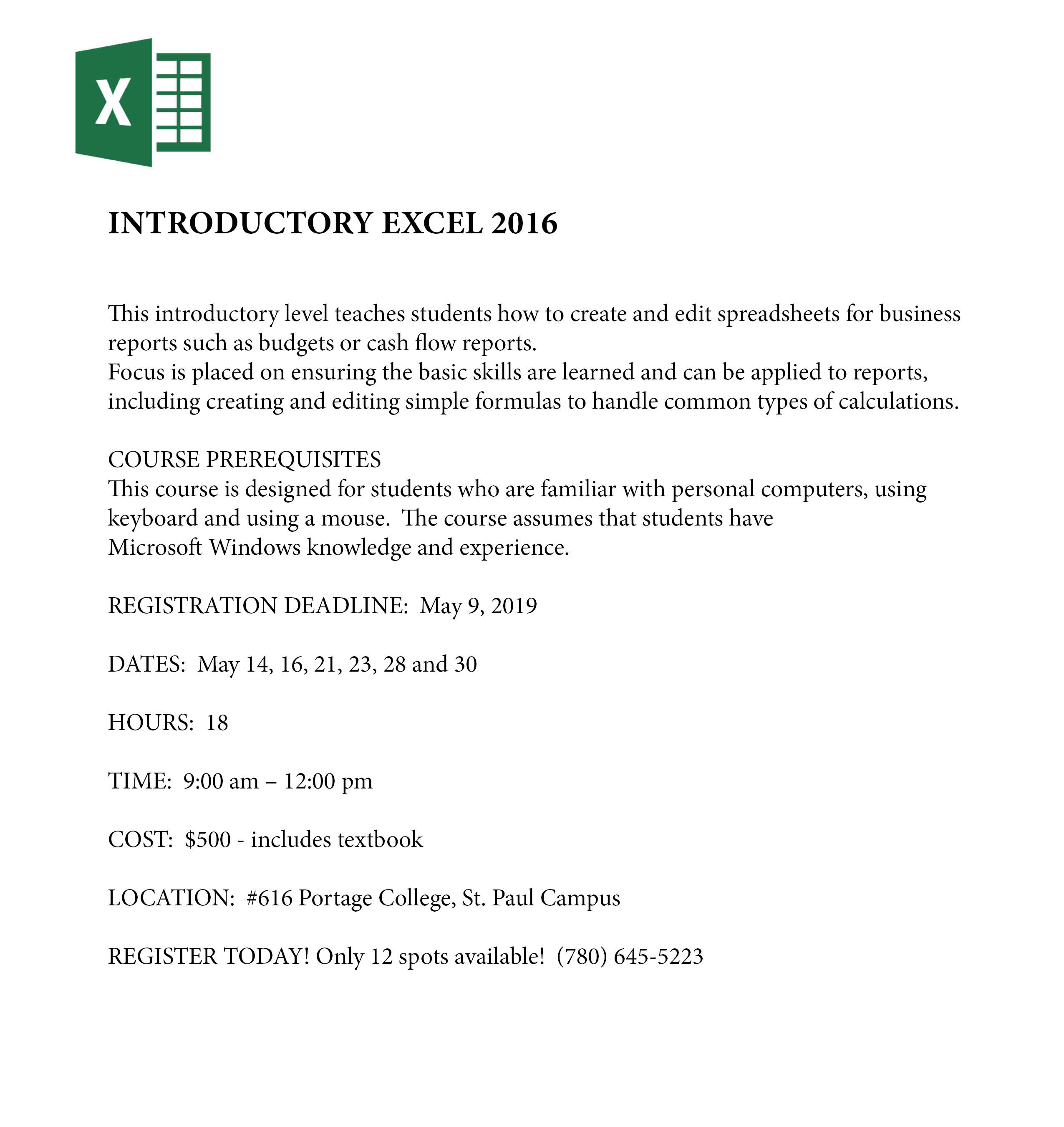 Introductory Excel 2016